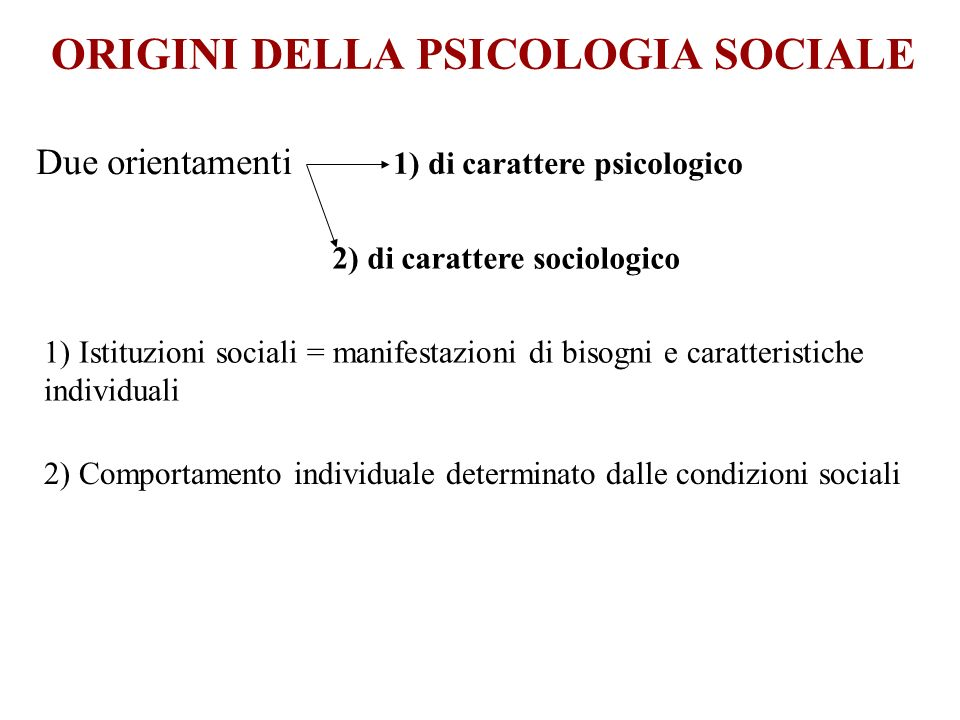 ORIGINI DELLA PSICOLOGIA SOCIALE