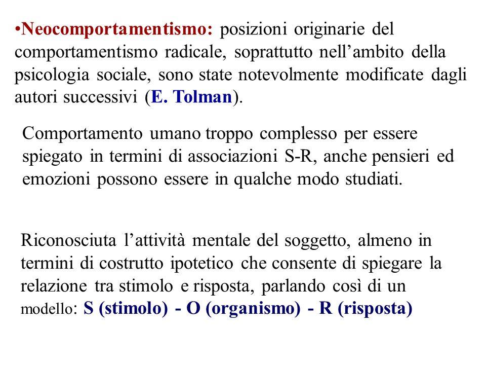 Neocomportamentismo: posizioni originarie del comportamentismo radicale, soprattutto nell'ambito della psicologia sociale, sono state notevolmente modificate dagli autori successivi (E. Tolman).