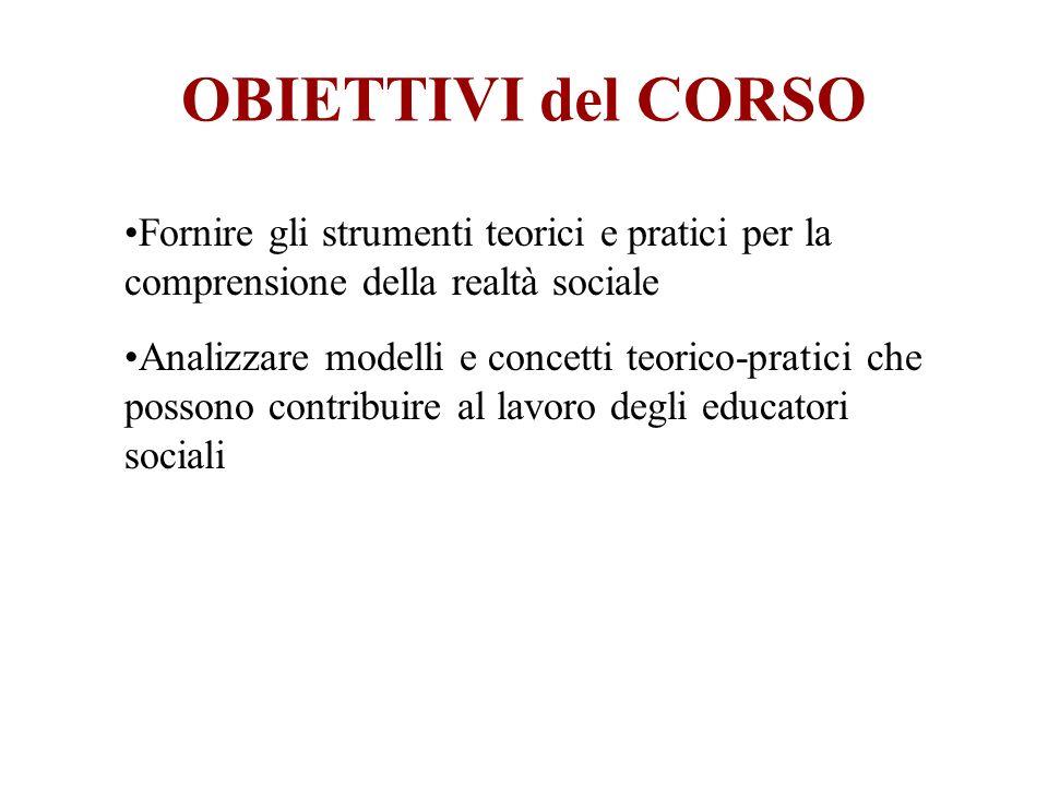 OBIETTIVI del CORSO Fornire gli strumenti teorici e pratici per la comprensione della realtà sociale.