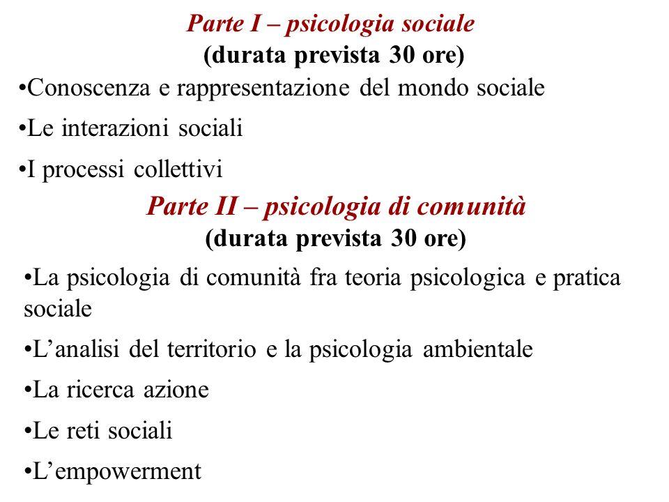 Parte I – psicologia sociale Parte II – psicologia di comunità