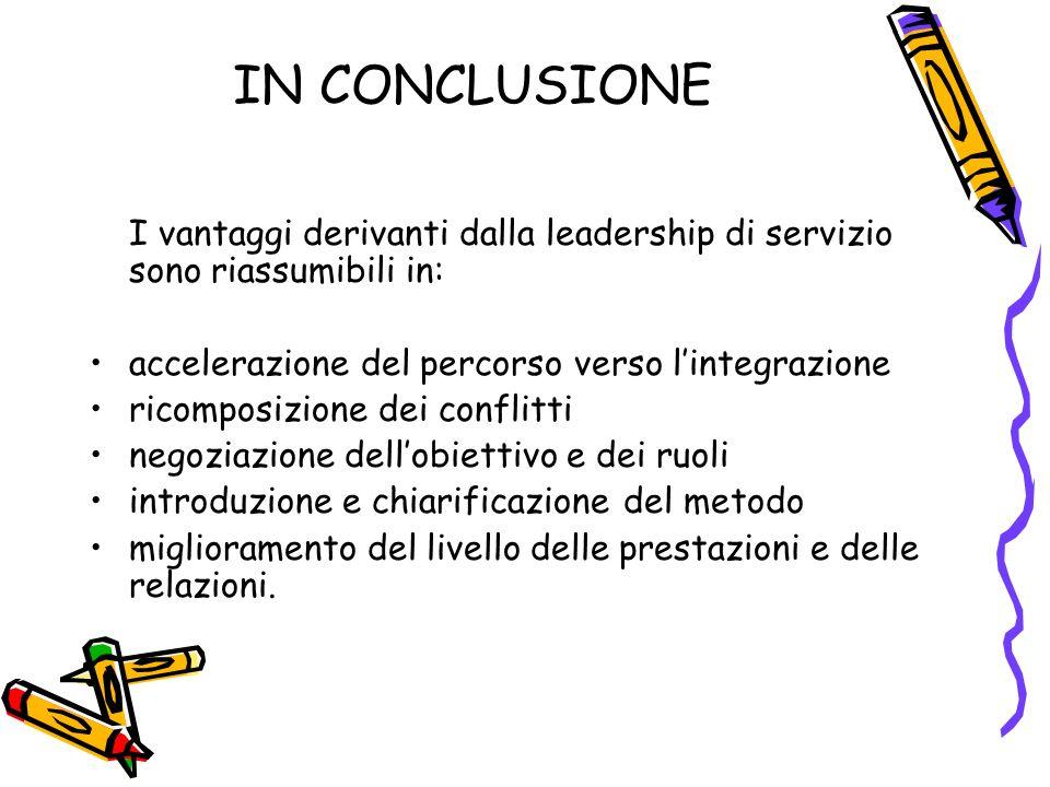 IN CONCLUSIONE I vantaggi derivanti dalla leadership di servizio sono riassumibili in: accelerazione del percorso verso l'integrazione.