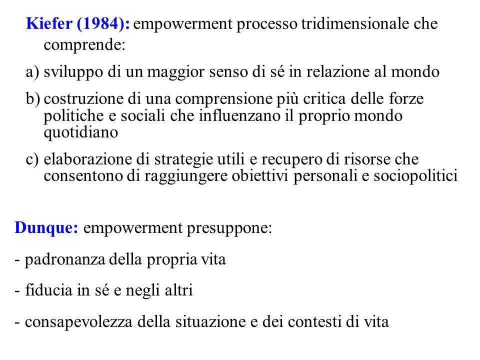 Kiefer (1984): empowerment processo tridimensionale che comprende: