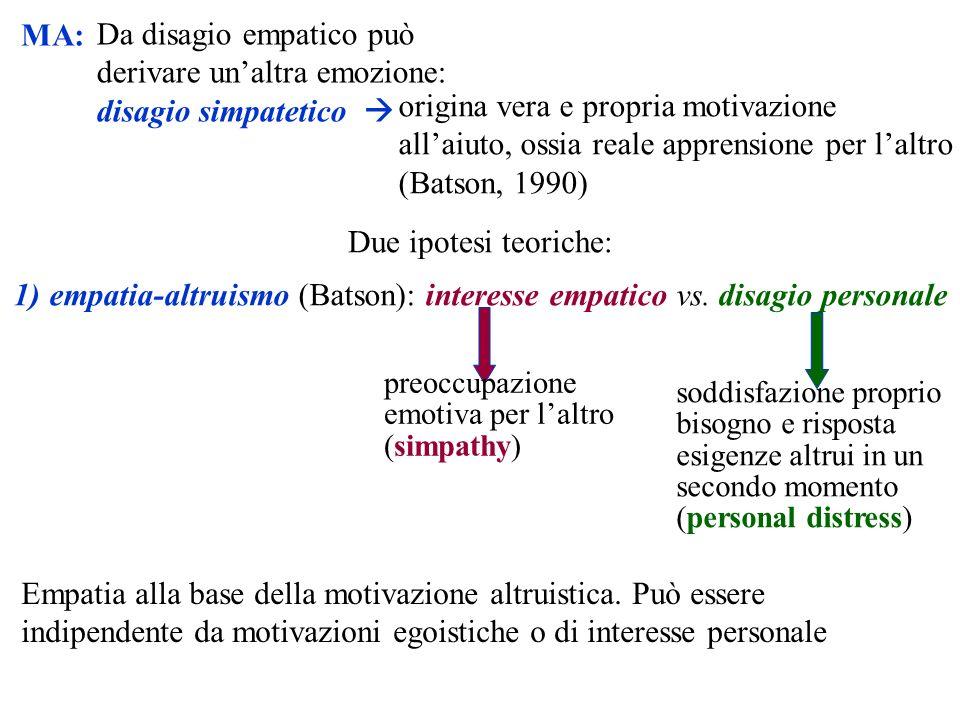 empatia-altruismo (Batson): interesse empatico vs. disagio personale