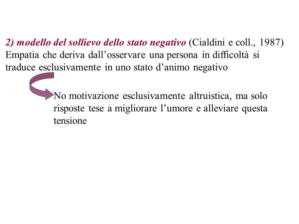 2) modello del sollievo dello stato negativo (Cialdini e coll