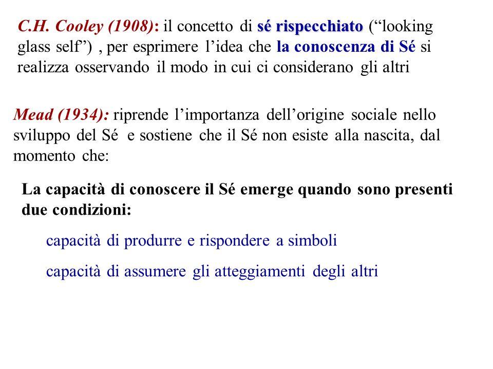 C.H. Cooley (1908): il concetto di sé rispecchiato ( looking glass self ) , per esprimere l'idea che la conoscenza di Sé si realizza osservando il modo in cui ci considerano gli altri