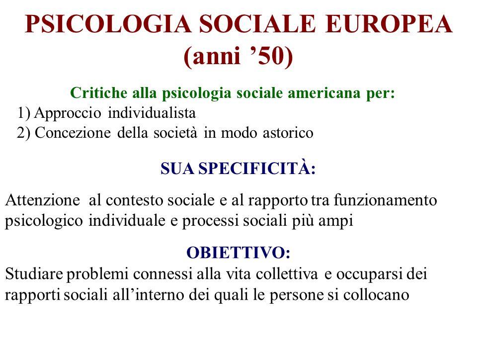PSICOLOGIA SOCIALE EUROPEA (anni '50)