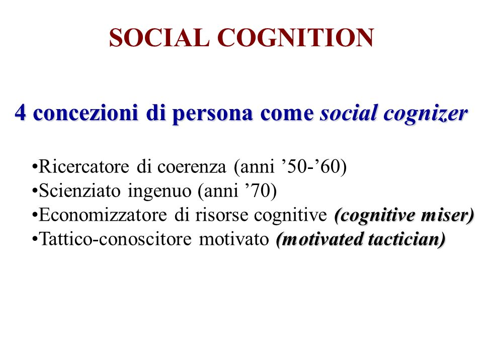 4 concezioni di persona come social cognizer