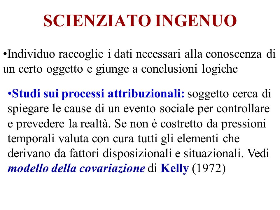 SCIENZIATO INGENUOIndividuo raccoglie i dati necessari alla conoscenza di un certo oggetto e giunge a conclusioni logiche.