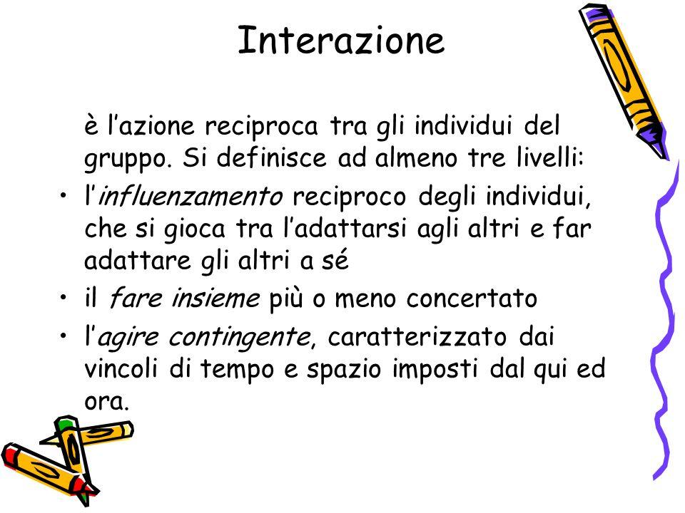 Interazione è l'azione reciproca tra gli individui del gruppo. Si definisce ad almeno tre livelli: