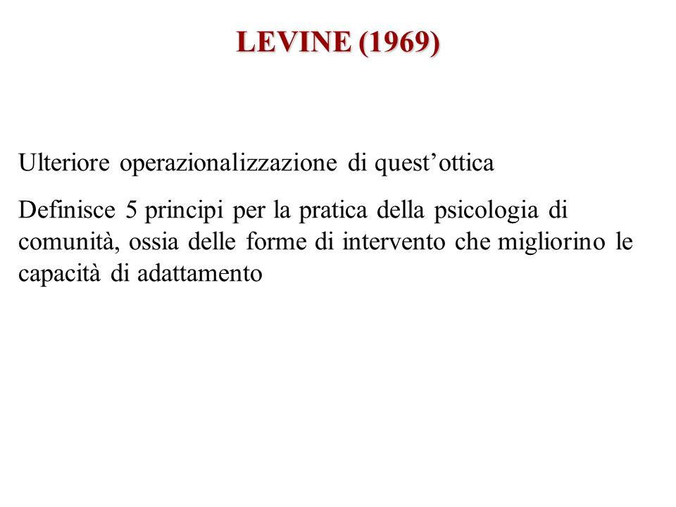 LEVINE (1969) Ulteriore operazionalizzazione di quest'ottica