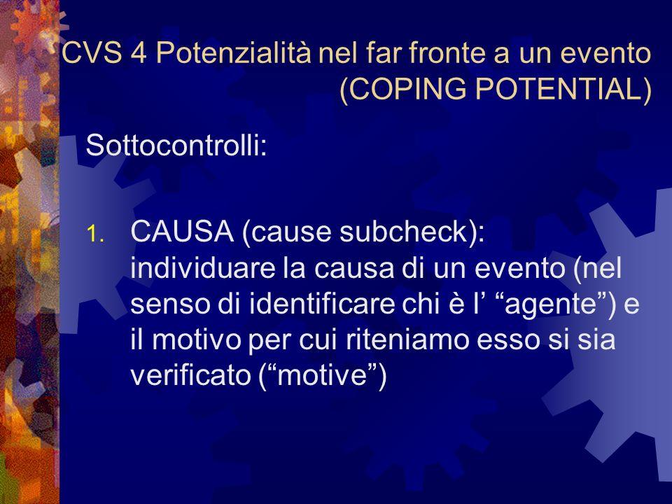 CVS 4 Potenzialità nel far fronte a un evento (COPING POTENTIAL)