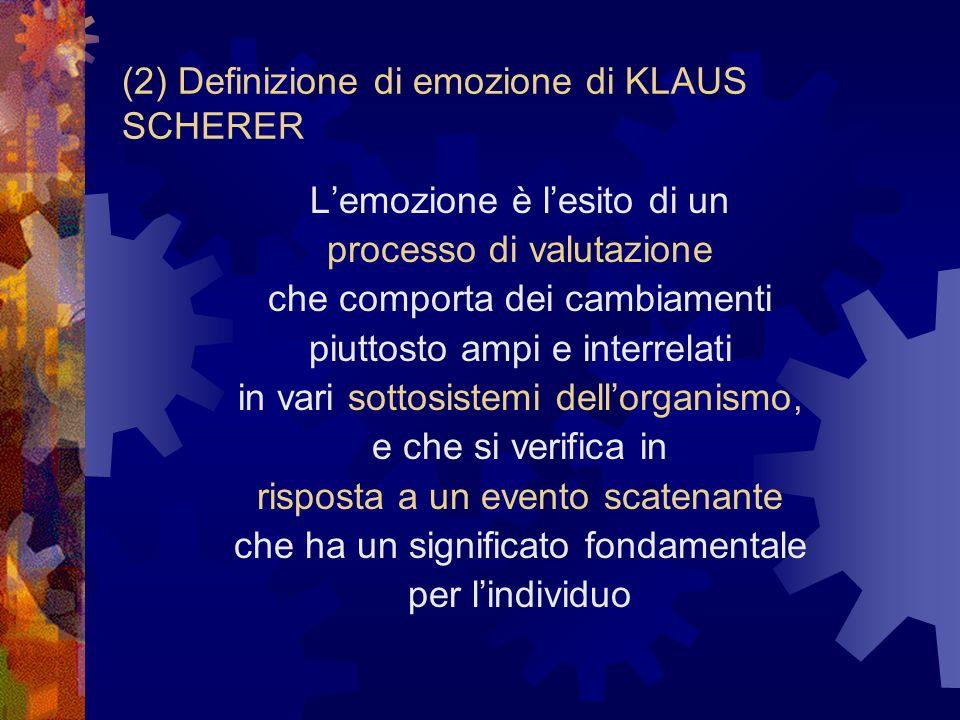 (2) Definizione di emozione di KLAUS SCHERER