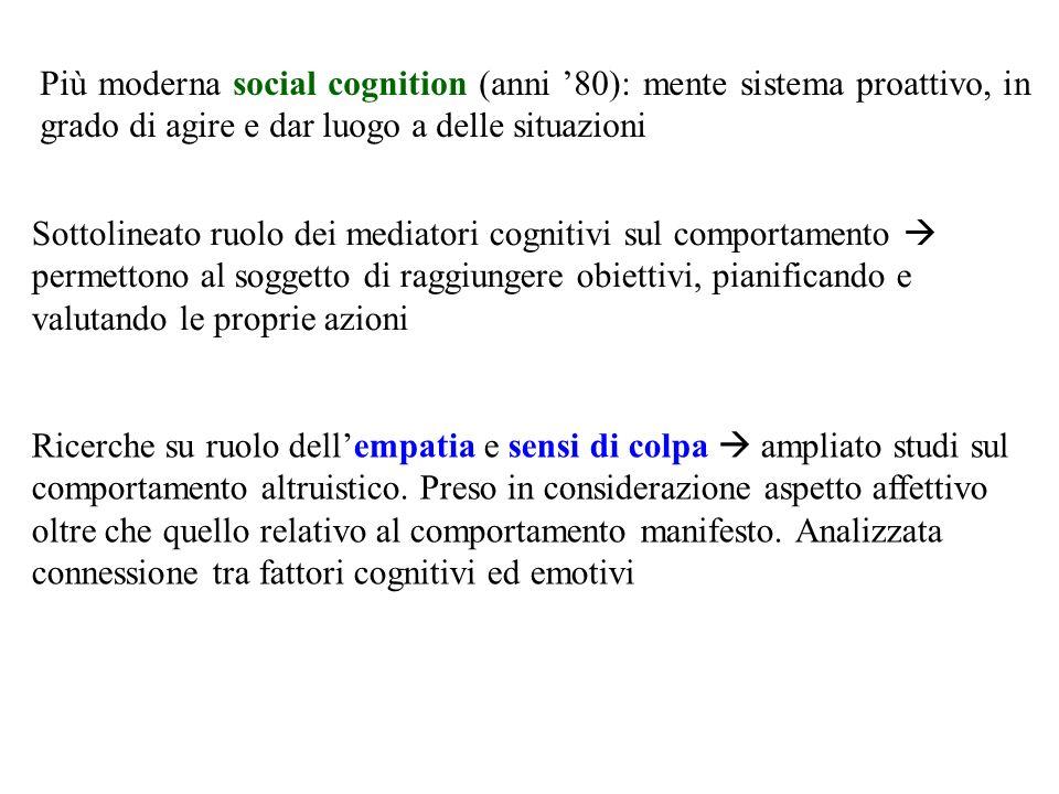 Più moderna social cognition (anni '80): mente sistema proattivo, in grado di agire e dar luogo a delle situazioni