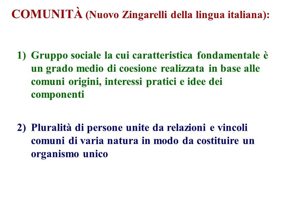 COMUNITÀ (Nuovo Zingarelli della lingua italiana):