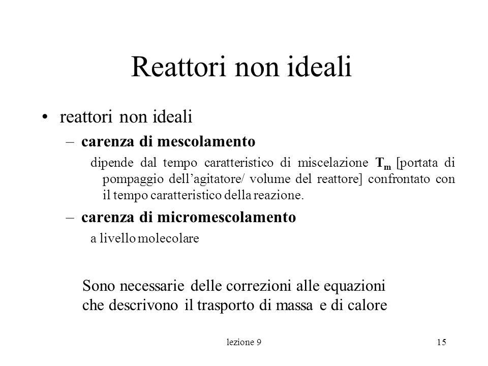 Reattori non ideali reattori non ideali carenza di mescolamento