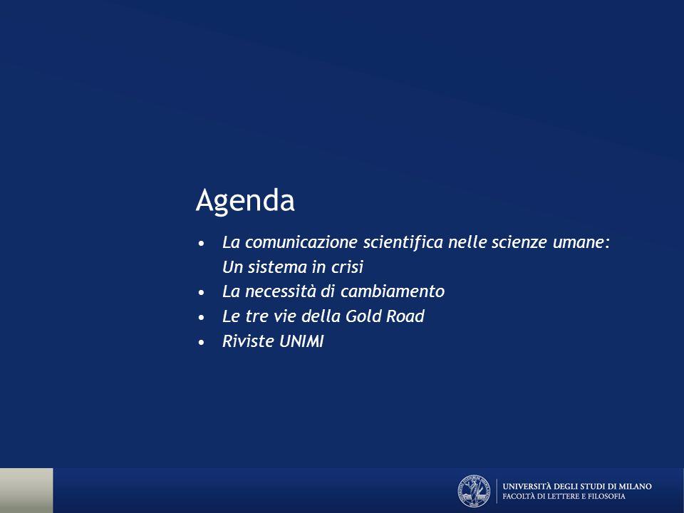 Agenda La comunicazione scientifica nelle scienze umane: