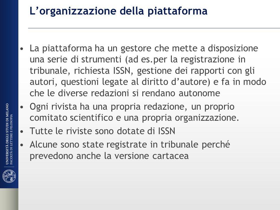 L'organizzazione della piattaforma