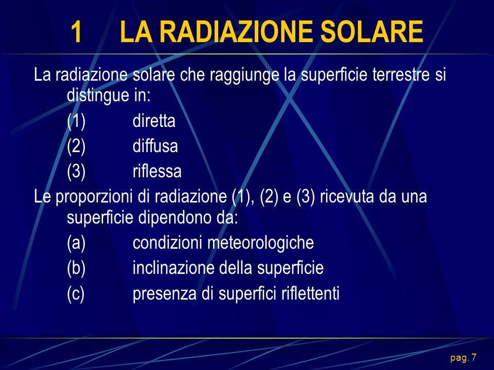 1 LA RADIAZIONE SOLARE La radiazione solare che raggiunge la superficie terrestre si distingue in: (1) diretta.