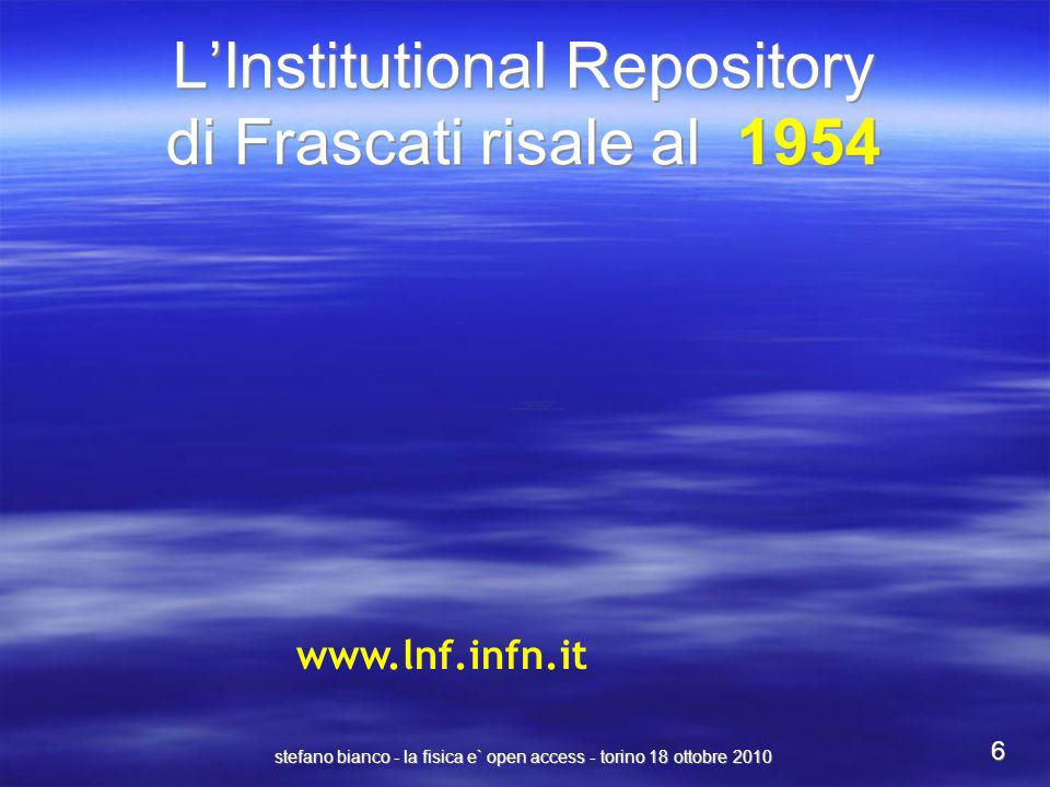 L'Institutional Repository di Frascati risale al 1954