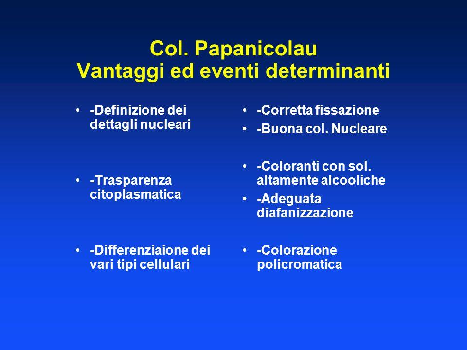 Col. Papanicolau Vantaggi ed eventi determinanti