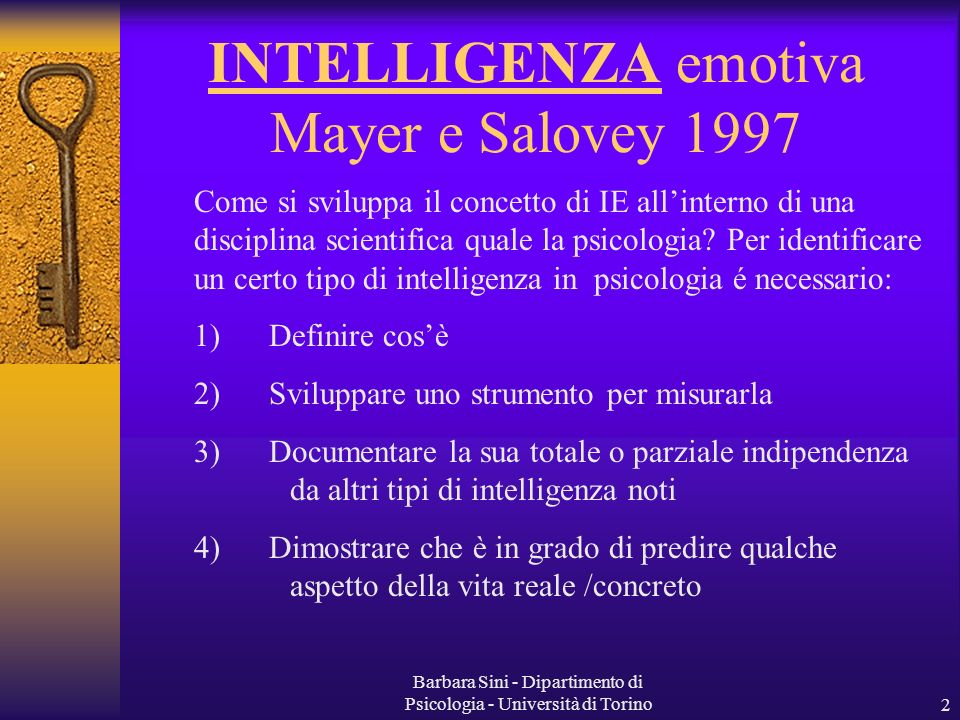 INTELLIGENZA emotiva Mayer e Salovey 1997