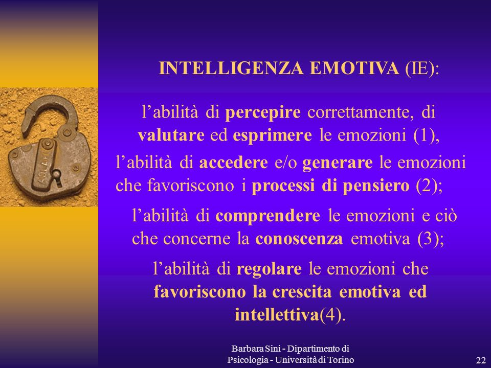 INTELLIGENZA EMOTIVA (IE):