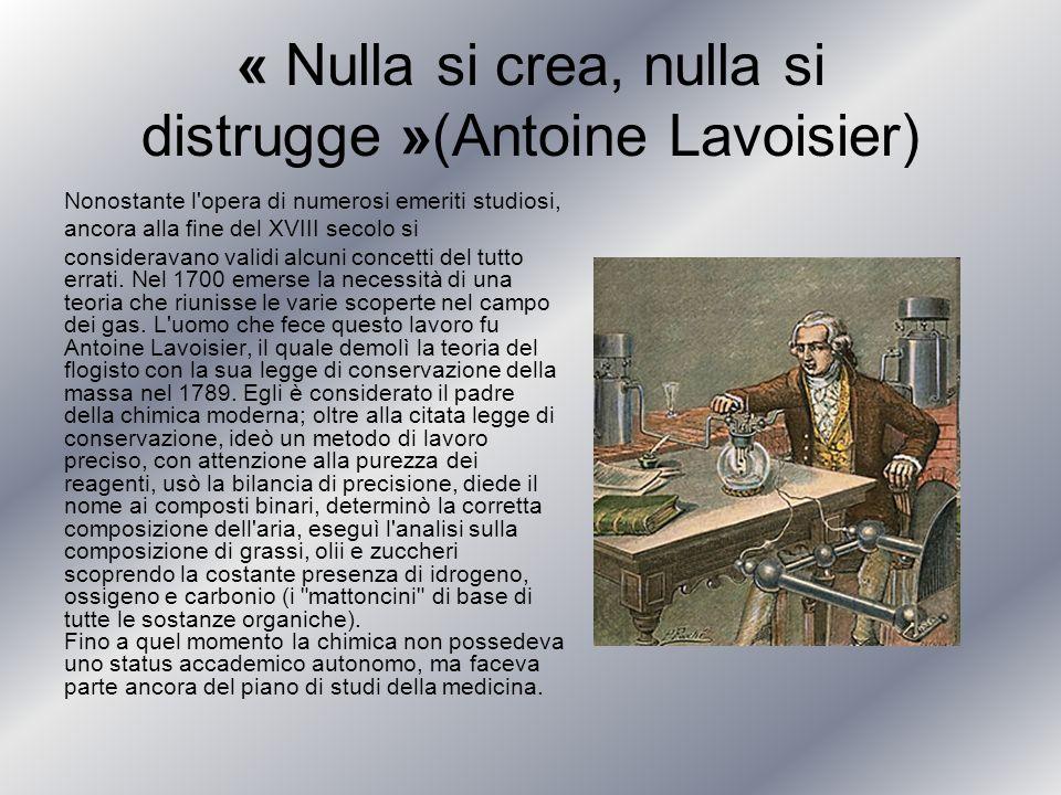« Nulla si crea, nulla si distrugge »(Antoine Lavoisier)