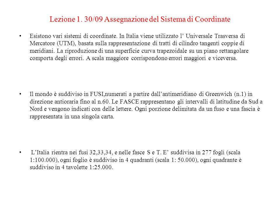 Lezione 1. 30/09 Assegnazione del Sistema di Coordinate