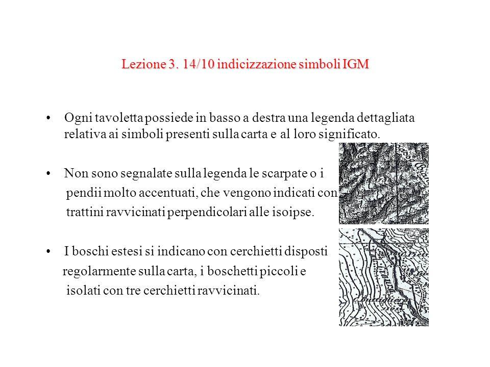 Lezione 3. 14/10 indicizzazione simboli IGM