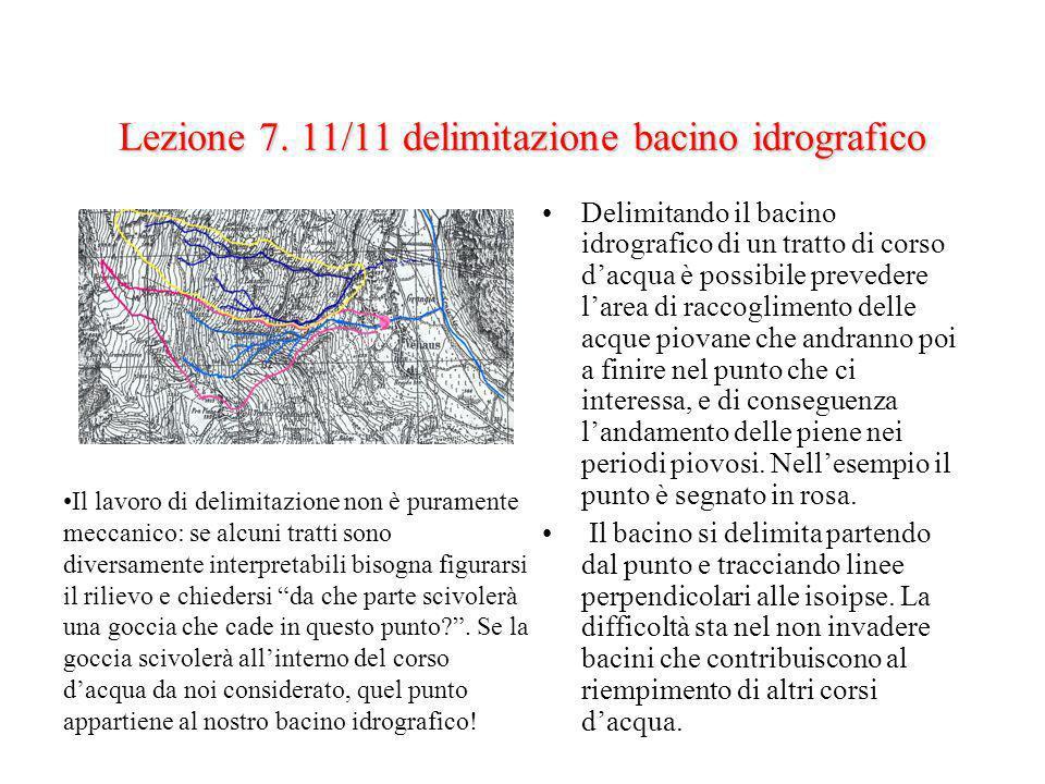 Lezione 7. 11/11 delimitazione bacino idrografico