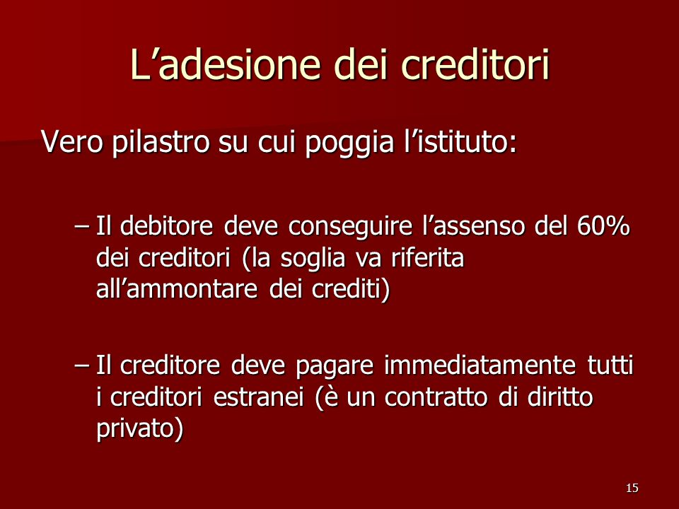 L'adesione dei creditori
