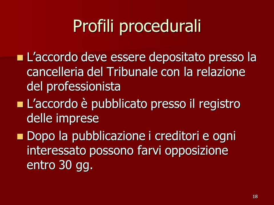 Profili procedurali L'accordo deve essere depositato presso la cancelleria del Tribunale con la relazione del professionista.