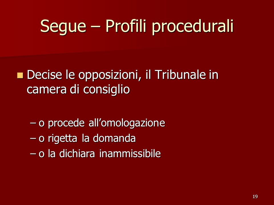 Segue – Profili procedurali