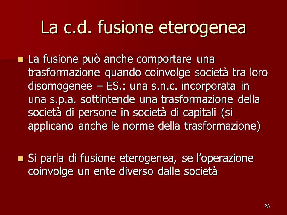 La c.d. fusione eterogenea