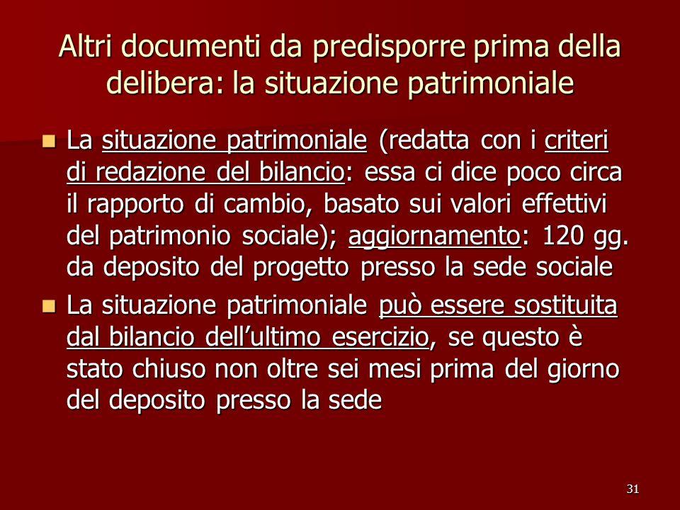 Altri documenti da predisporre prima della delibera: la situazione patrimoniale