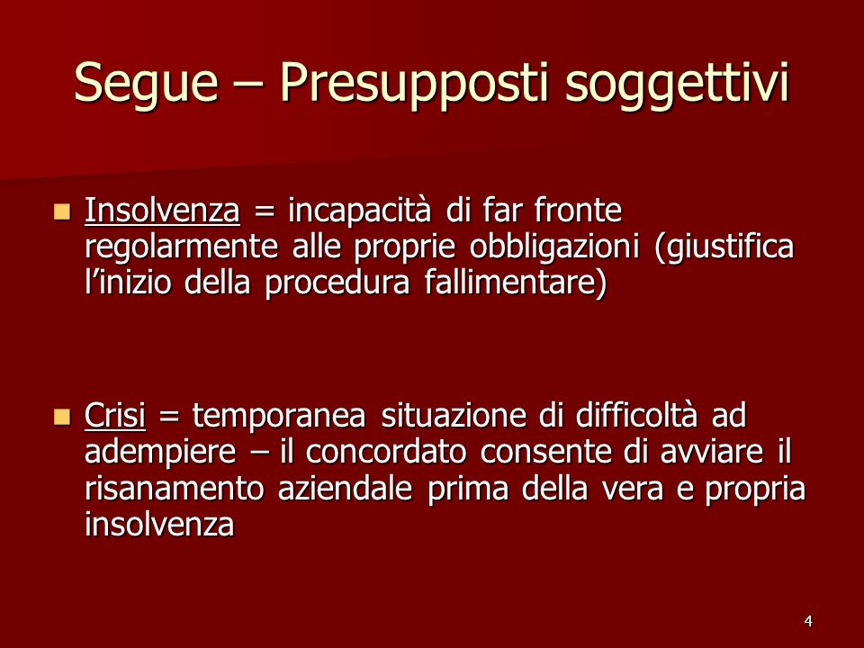 Segue – Presupposti soggettivi