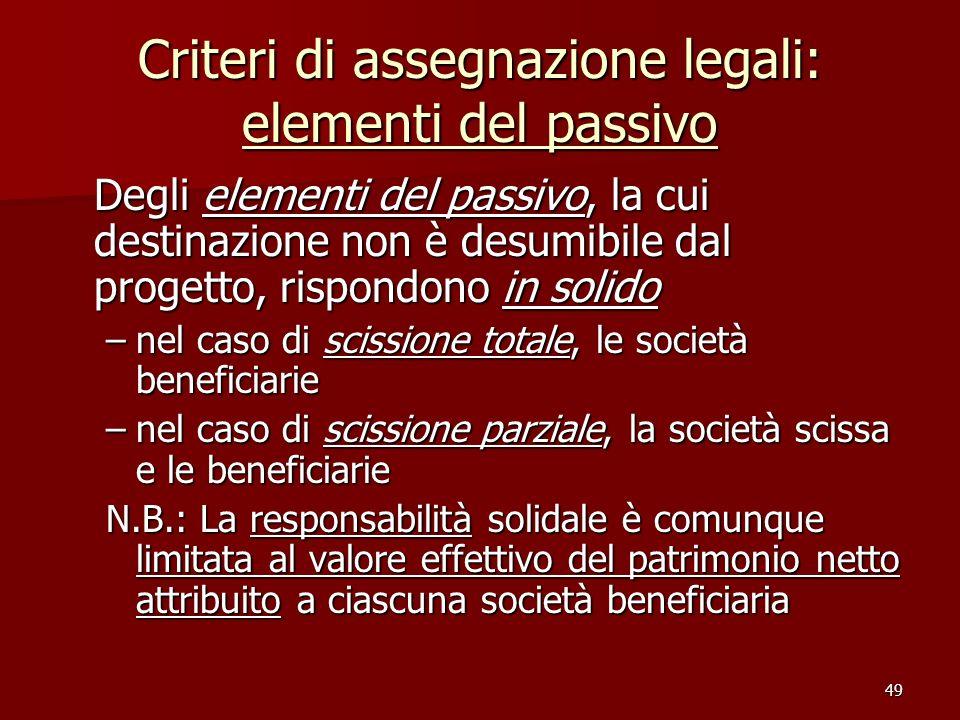 Criteri di assegnazione legali: elementi del passivo