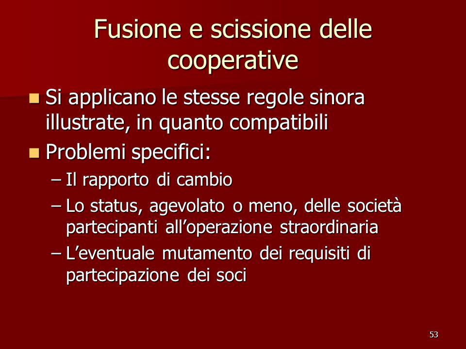 Fusione e scissione delle cooperative