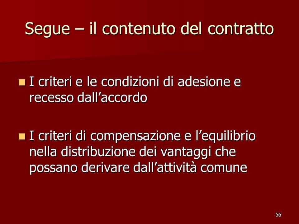 Segue – il contenuto del contratto