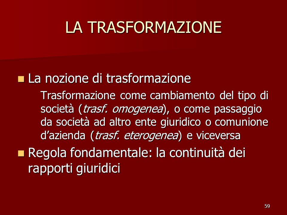 LA TRASFORMAZIONE La nozione di trasformazione