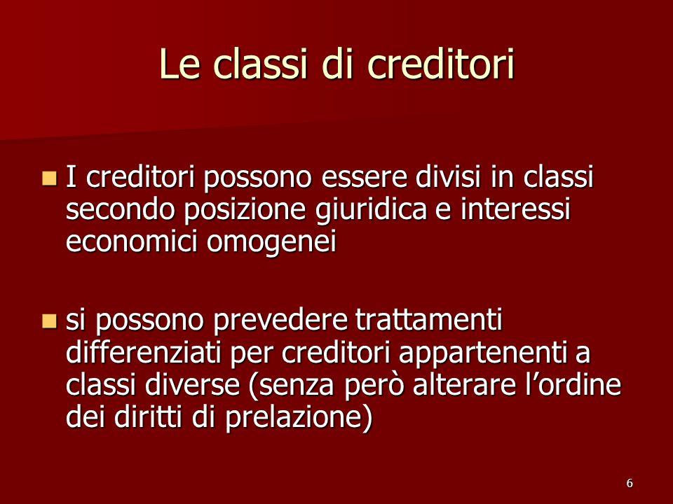 Le classi di creditori I creditori possono essere divisi in classi secondo posizione giuridica e interessi economici omogenei.