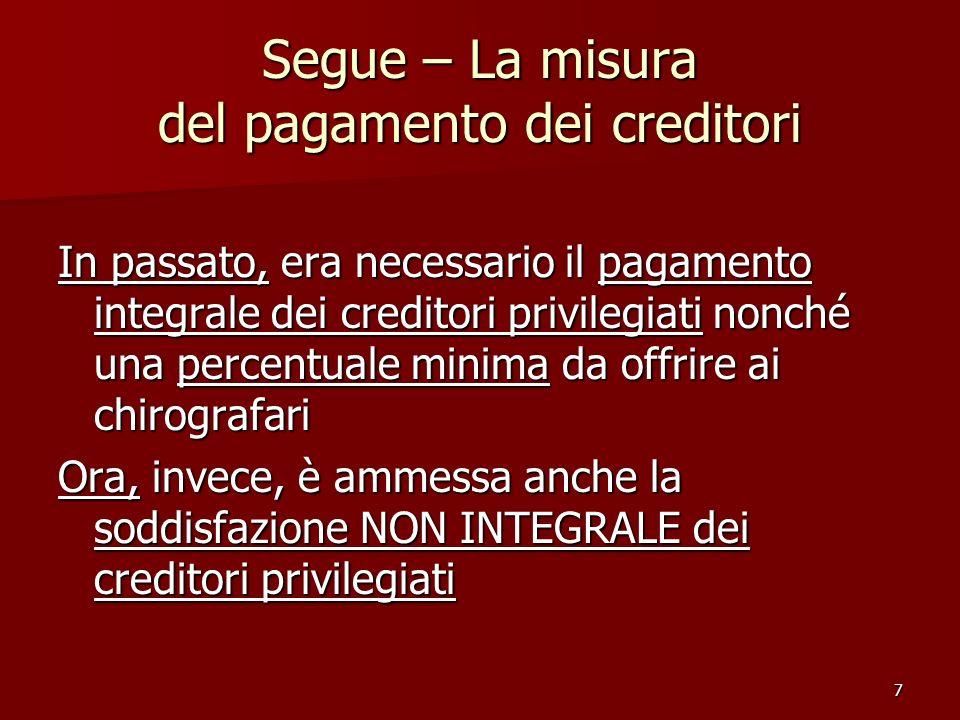 Segue – La misura del pagamento dei creditori