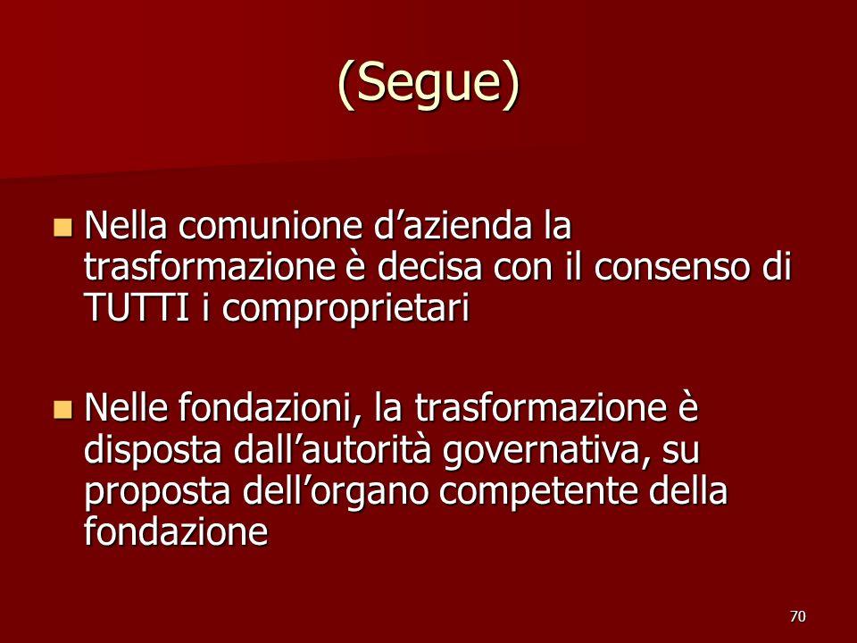 (Segue) Nella comunione d'azienda la trasformazione è decisa con il consenso di TUTTI i comproprietari.