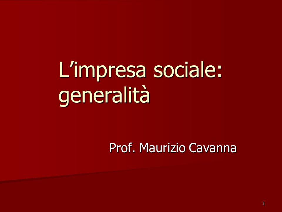 L'impresa sociale: generalità