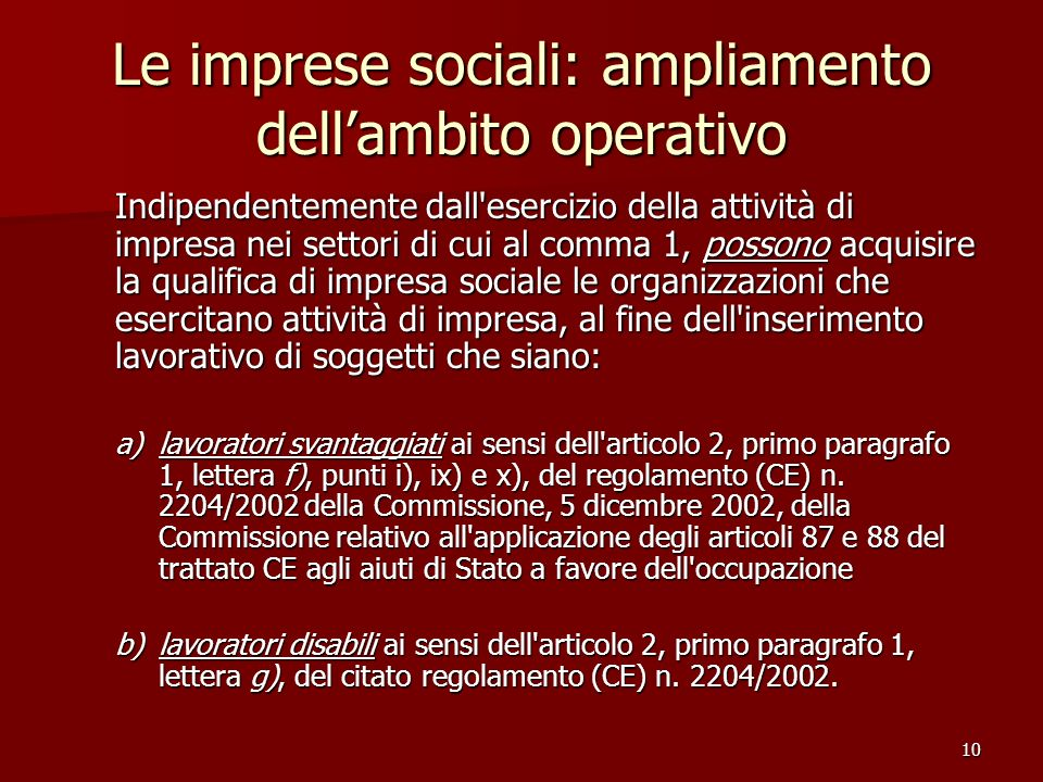 Le imprese sociali: ampliamento dell'ambito operativo