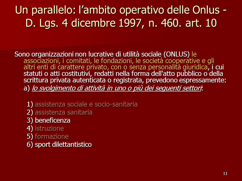 Un parallelo: l'ambito operativo delle Onlus - D. Lgs