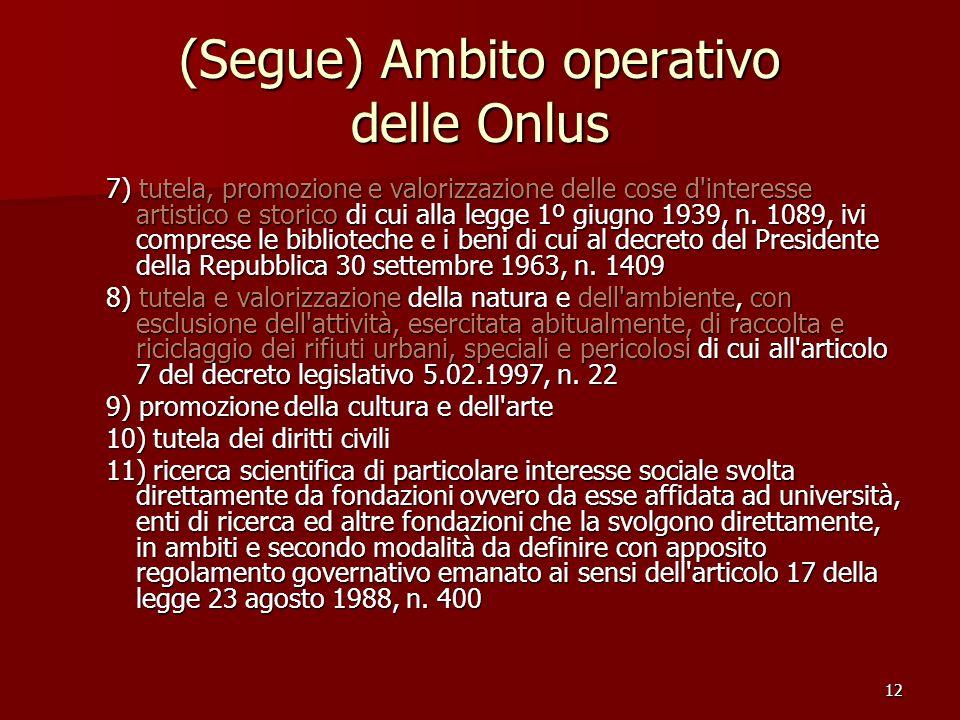 (Segue) Ambito operativo delle Onlus