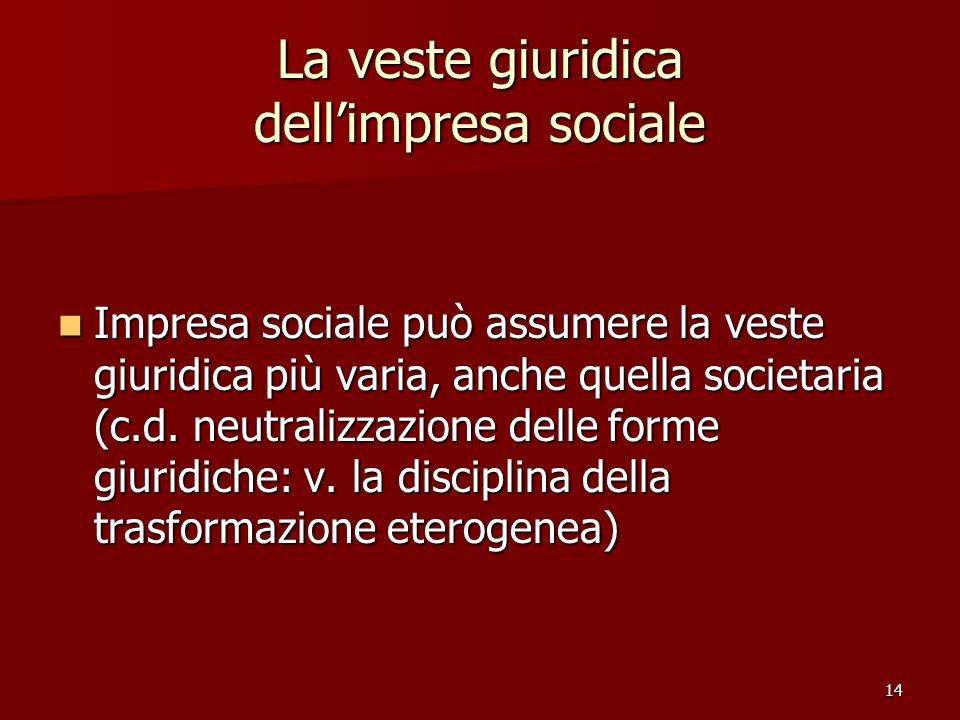 La veste giuridica dell'impresa sociale