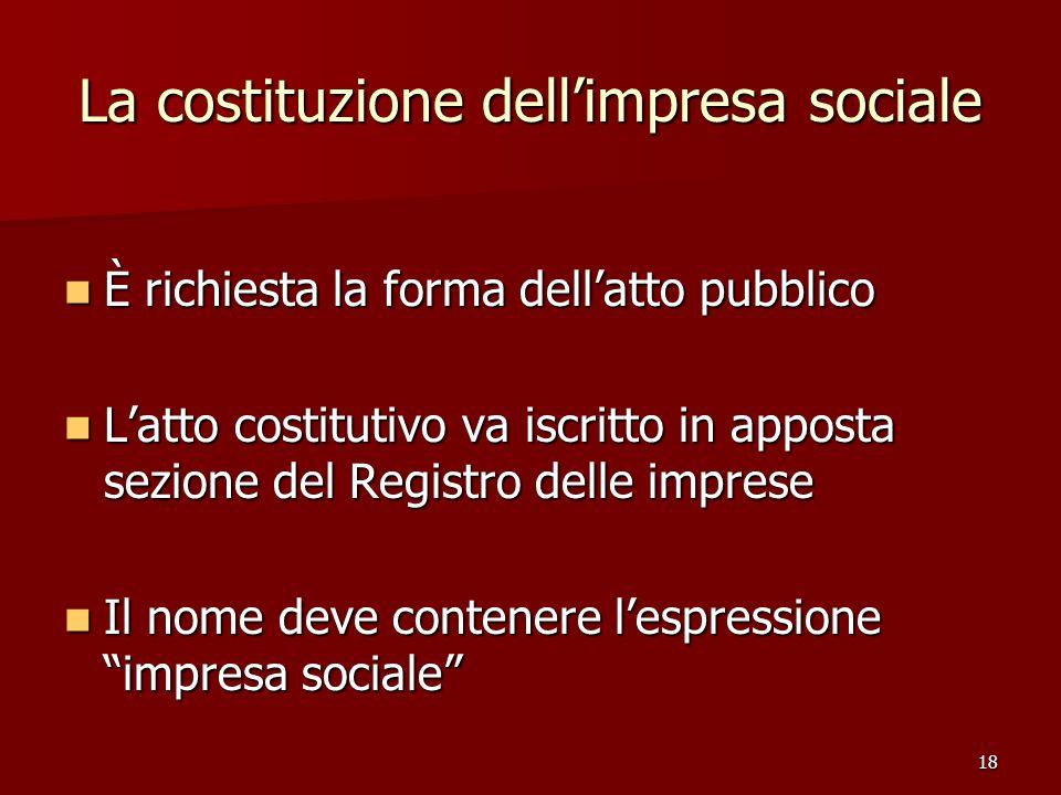 La costituzione dell'impresa sociale