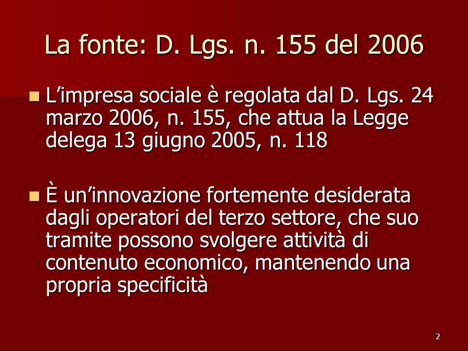 La fonte: D. Lgs. n. 155 del 2006 L'impresa sociale è regolata dal D. Lgs. 24 marzo 2006, n. 155, che attua la Legge delega 13 giugno 2005, n. 118.